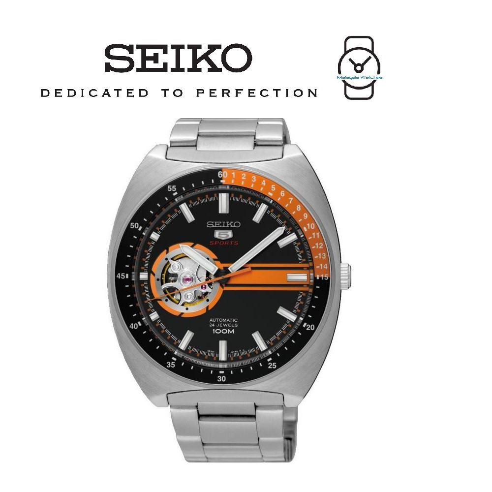 Seiko 5 Sports Ssa335k1 Gents Automatic Open Heart Leather Watch Two Tone Analog Original Brand New Black Shopee Malaysia