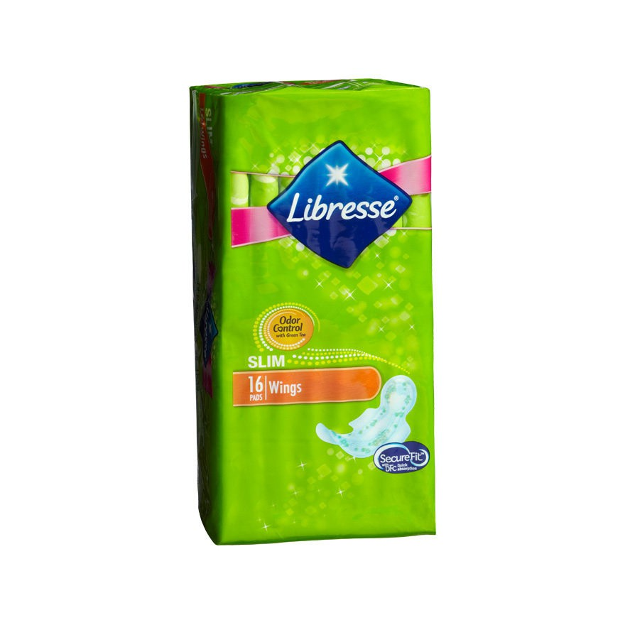 Libresse Green Tea Slim Wing Pads 24cm 16pc
