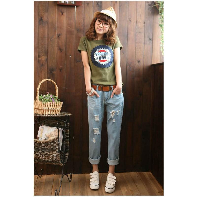 79191950f91 Excellent ! Ripped boyfriend jeans denim plus size