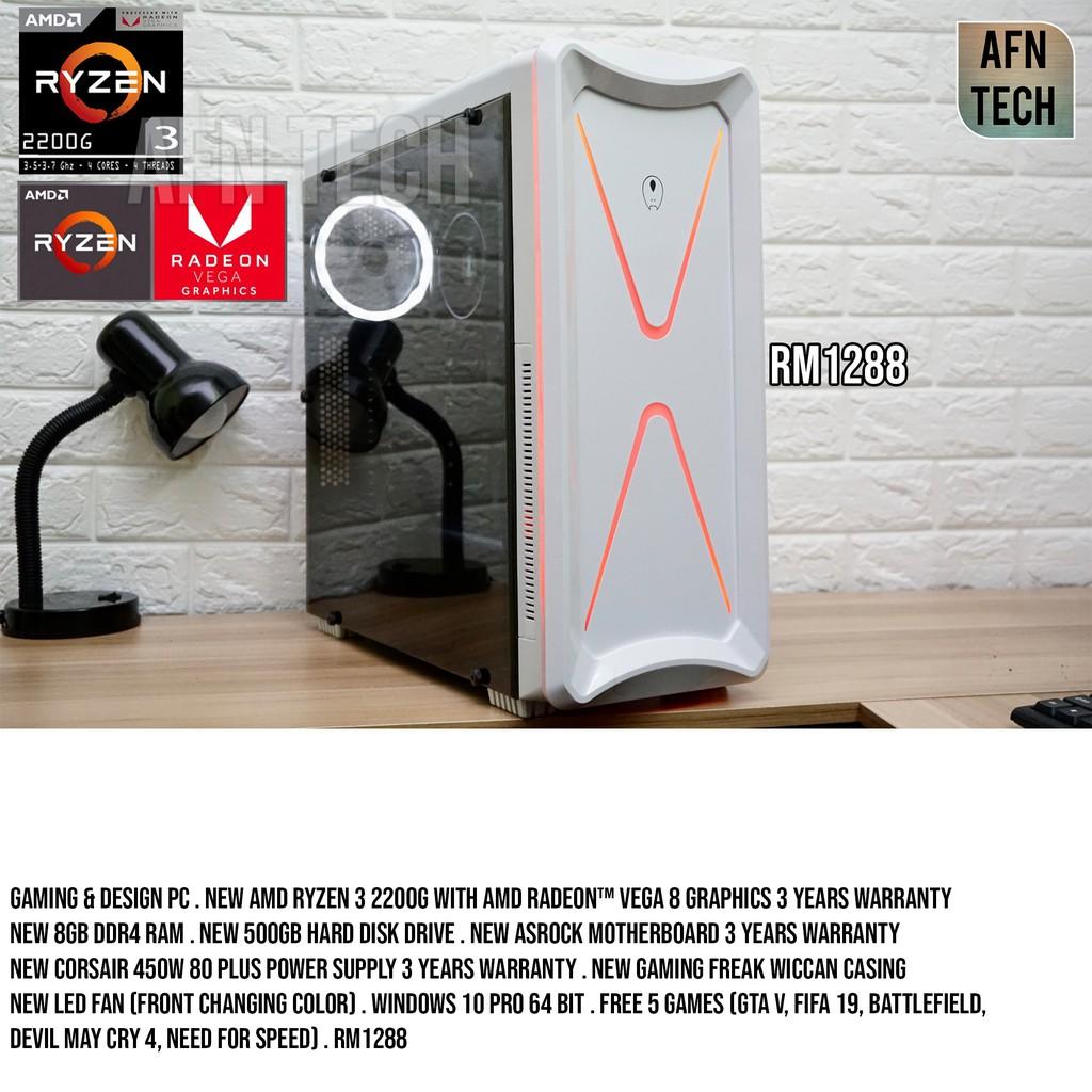 Budget Gaming PC AMD Ryzen 3 2200G Radeon Vega 8 Graphics Cpu Desktop