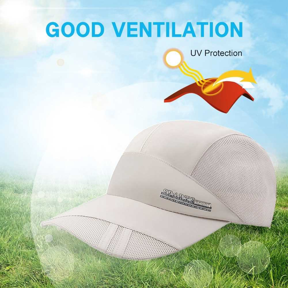 Outdoor Sports Breathable Quick Dry Mesh Baseball Cap Sun Hat for Men Women (White)