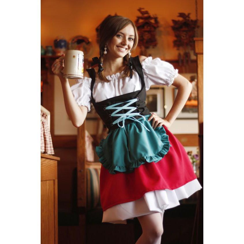 Cheers Traditional German Girls Oktoberfest Dirndl Fancy Servants Costume Dress
