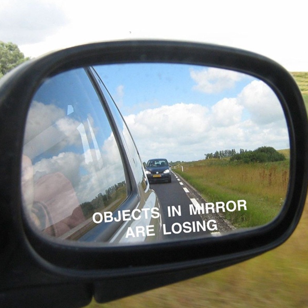 """2x /""""OBJECTS IN MIRROR ARE LOSING/"""" Stickers for Side Mirrors Wing Mirror Funny"""