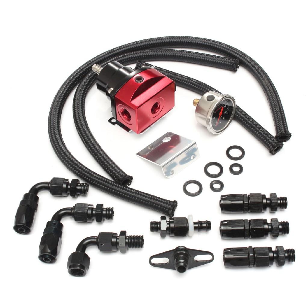 Adjustable Fuel Pressure Regulator Kit Oil 160psi Gauge AN6 Fitting End MX