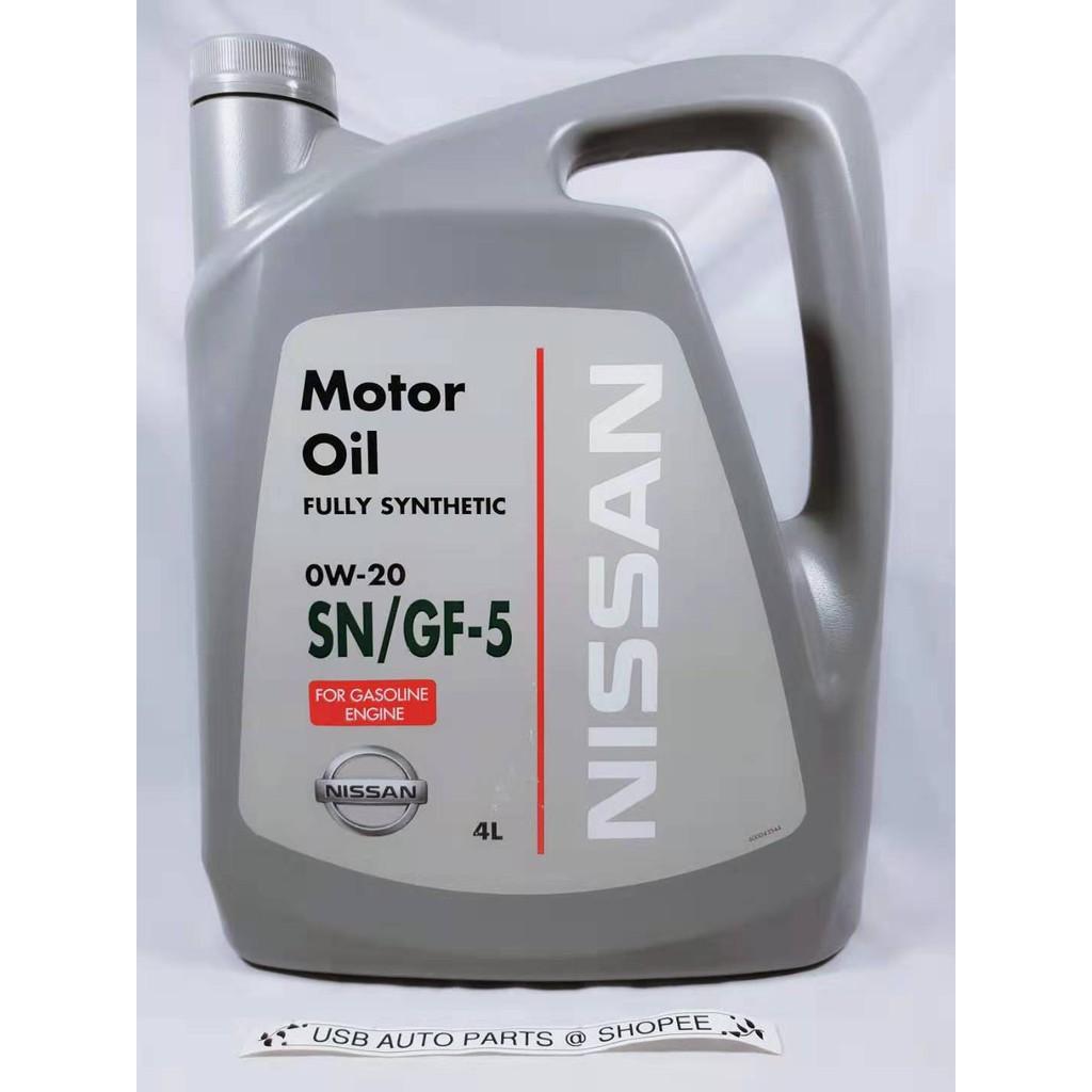 Original Nissan 0W-20 SN/GF-5 Fully Synthetic Engine Oil 0W20 Almera For Gasoline Engine