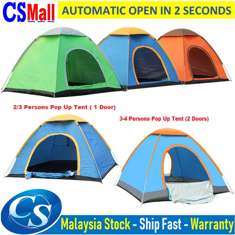 🔥🔥 2/3/4 People Outdoor Camping Tent single or double Door Waterproof  Automatic Pop Up Tent Khemah Askar/campak 🔥🔥