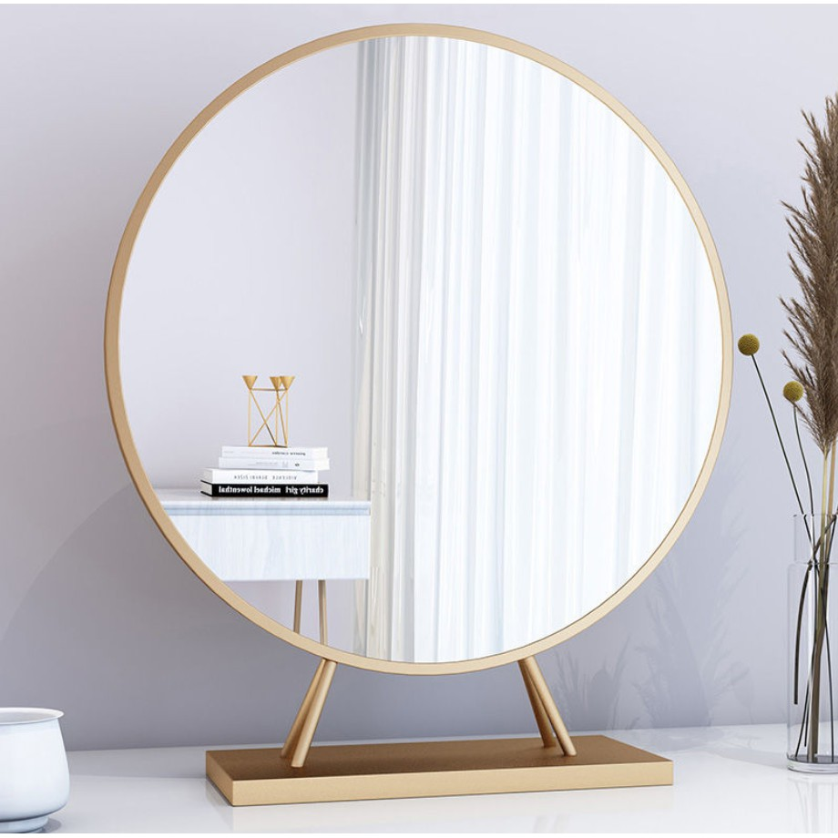 Desktop Makeup Mirror Stick A Wall Hanging Round Mirror Large Bedroom Dresser Nordic Gold Shopee Malaysia