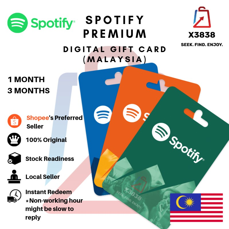 Spotify Premium Membership (Malaysia) Digital Gift Card for 1 Month & 3  Months