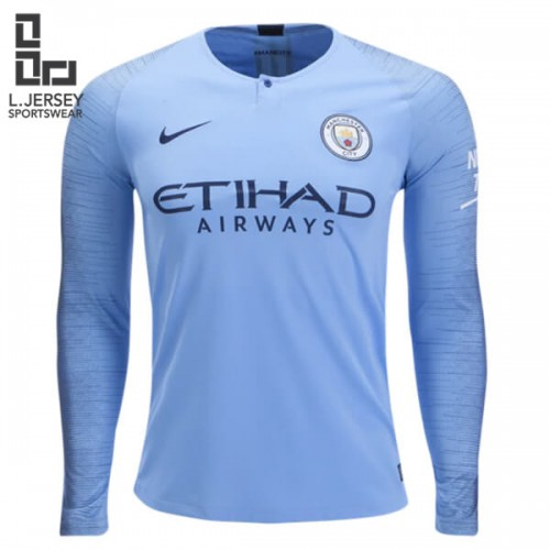 Manchester City Men Home Long Sleeve Season 18/19 Stadium Fans Jersey