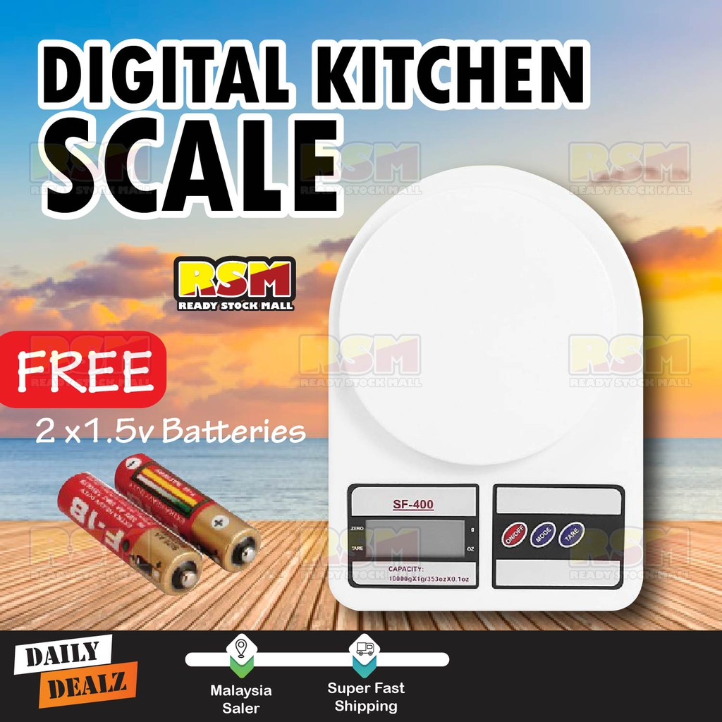 Electronic Portable Digital Kitchen Scale 10kg Weight Scale Free AA Battery