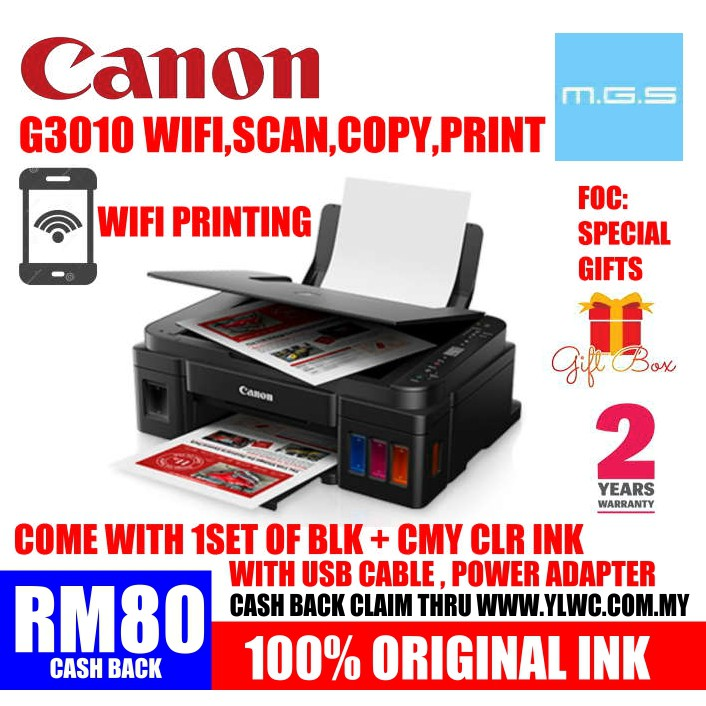 CANON G3010 WIRELESS REFILL INK TANK PRINTER WITH CANON ORIGINAL REFILL INK  - G2000/G2010/G3000/T310/T510W/L3110/L360