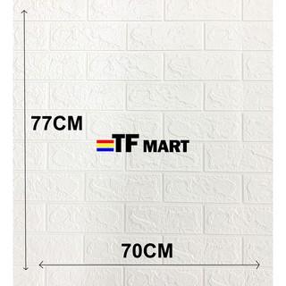 4Pcs White Embossed 3D Brick Textured Wall Sticker Panels