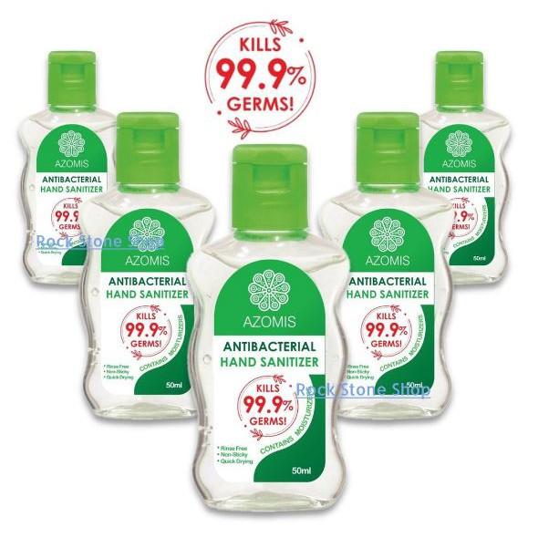 [5 Bottles x 50ml] Instant Hand Sanitizer Sanitiser (Kills 99% Germs, AntiBacterial) 消毒杀菌洗手液 Azomis KKM
