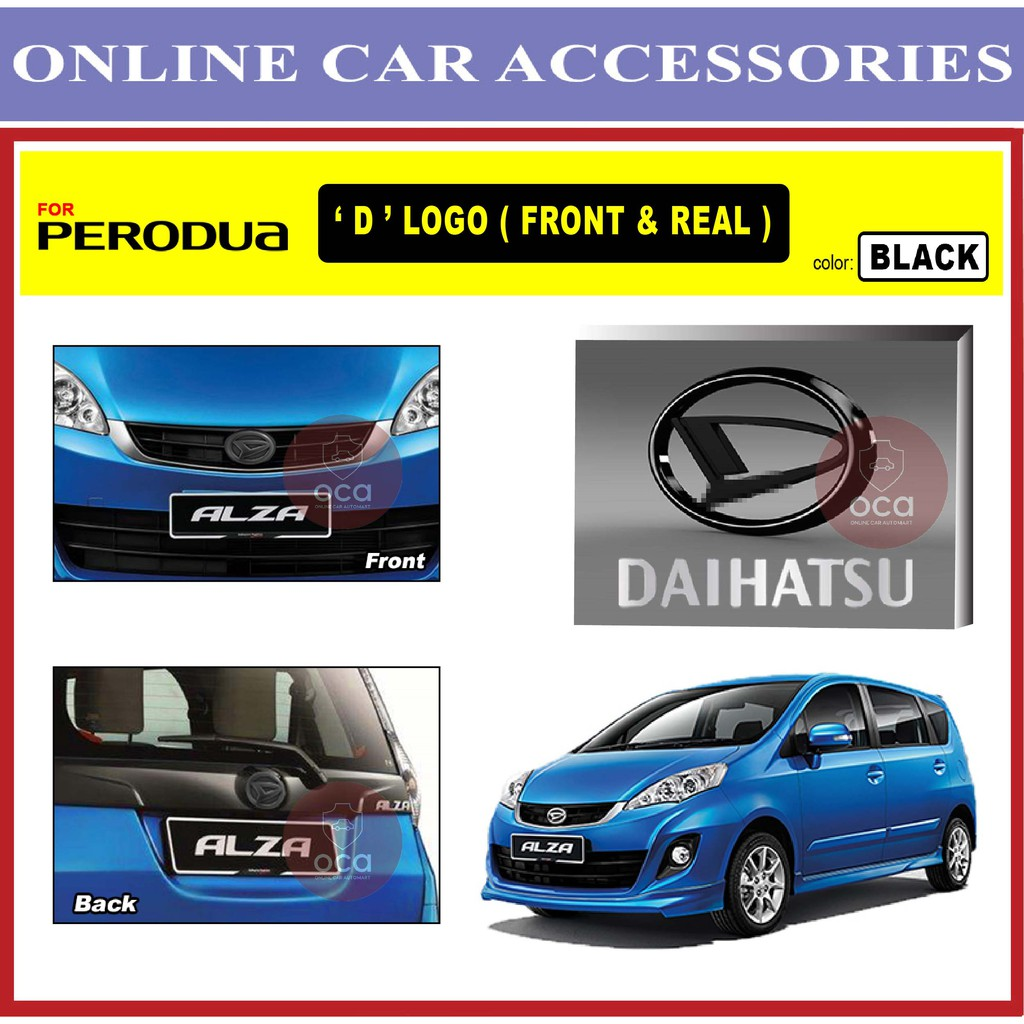 PERODUA ALZA 2009-2019 Front and Rear Convert Daihatsu Chrome / Black ABS Logo Emblem (2pcs)