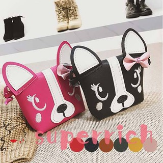 45a5be983707 Korean Girl Mini Shoulder Bag PU Leather Cute Dog Bowknot Travel ...