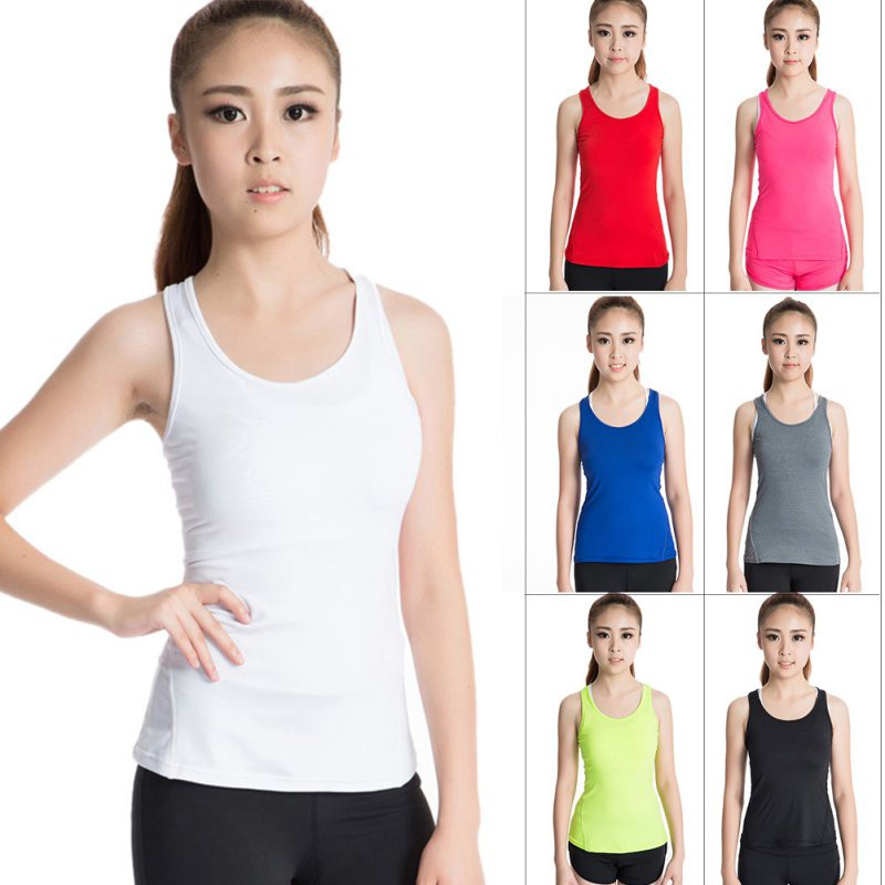 Ladies Womens Body Fit Racerback Polyester Sports Tank Top Vest Singlet Camisole