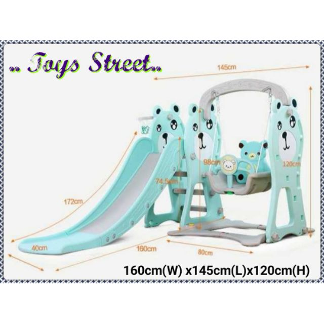 🔥Best Buy🔥Happy Bear (3 in 1) Swing Slide Basketball Kids Playground Set  TS 18023