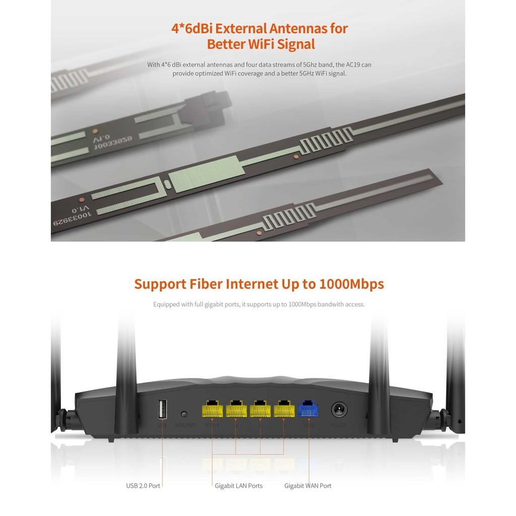 Tenda AC19 Smart WiFi Router Dual Band Gigabit Wireless Internet Router similar with AC23 AC18