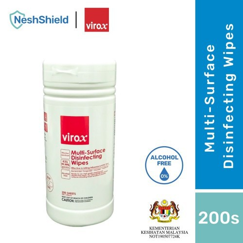 [Ready To Ship] Neshshield Virox Multi-Surface Disinfecting Wipes (Non-Alcohol) 200SHEETS/BOTTLE