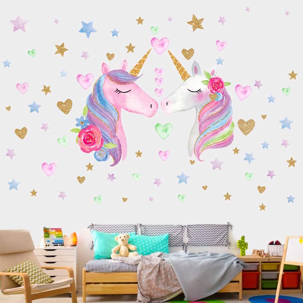 2pcs Cartoon Unicorn Wall Stickers Kids Room Nursery Decor Wallpaper Shopee Malaysia