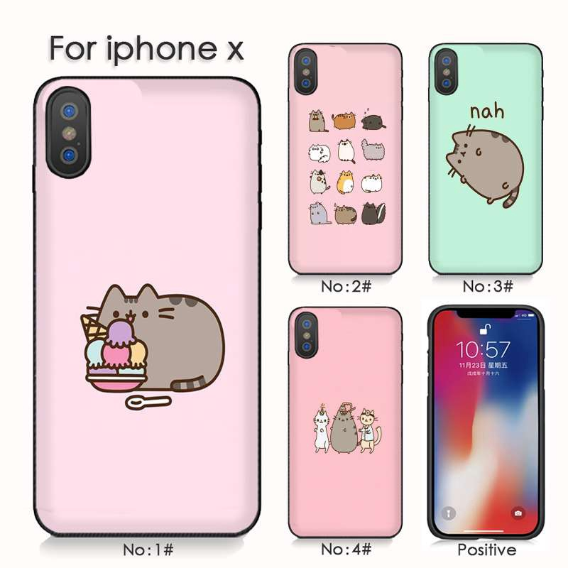 new arrival 67223 6915b Lovely Pusheen Cat For iphone 8 X XS XR Phone Shell