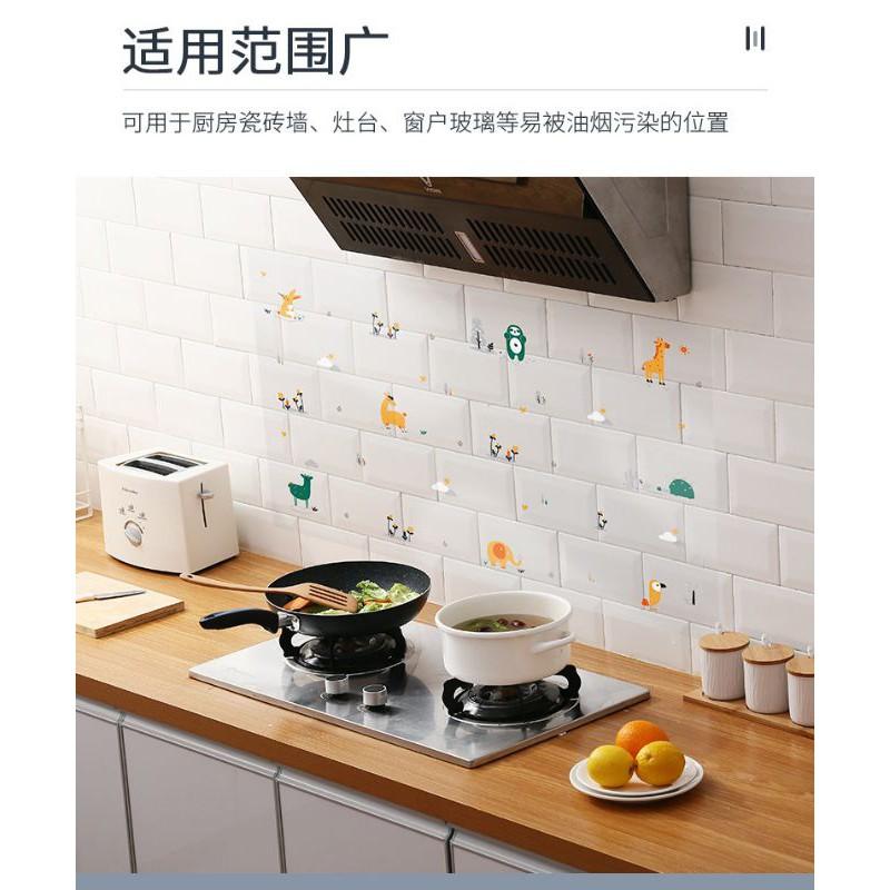 【Ready stock】厨房防油贴纸柜灶台用油烟机瓷砖墙贴自粘墙纸耐高温防水防潮壁纸