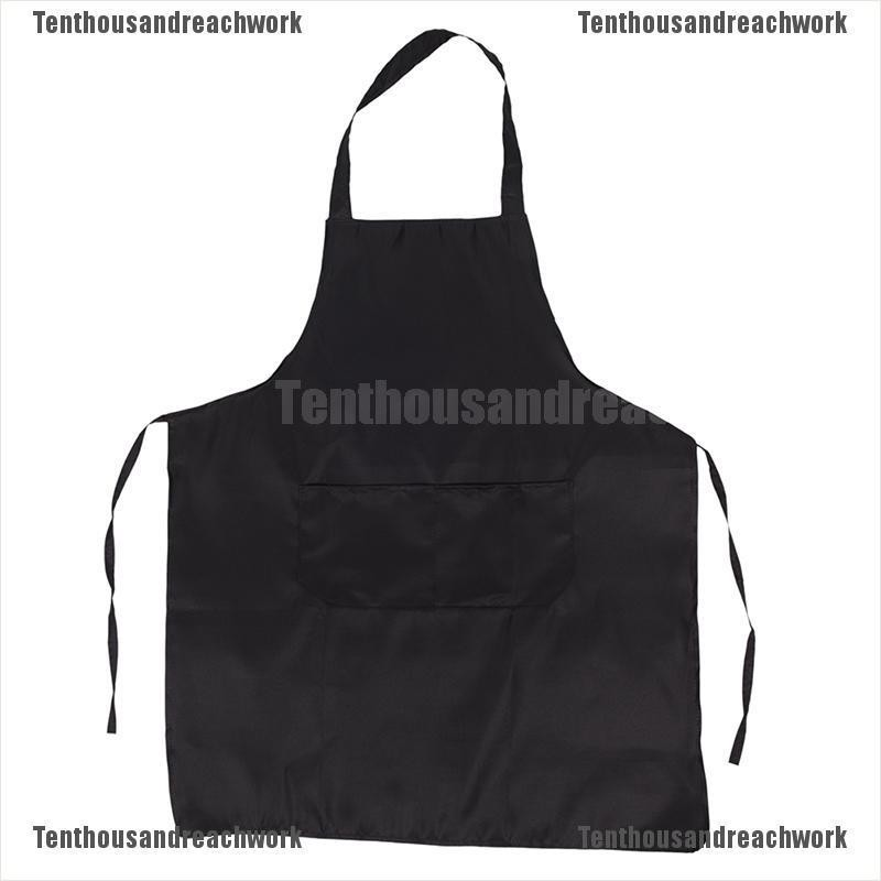 CHEFS APRON Black 100/% Cotton Catering Cooking BBQ with Bib Pockets Heavy Duty