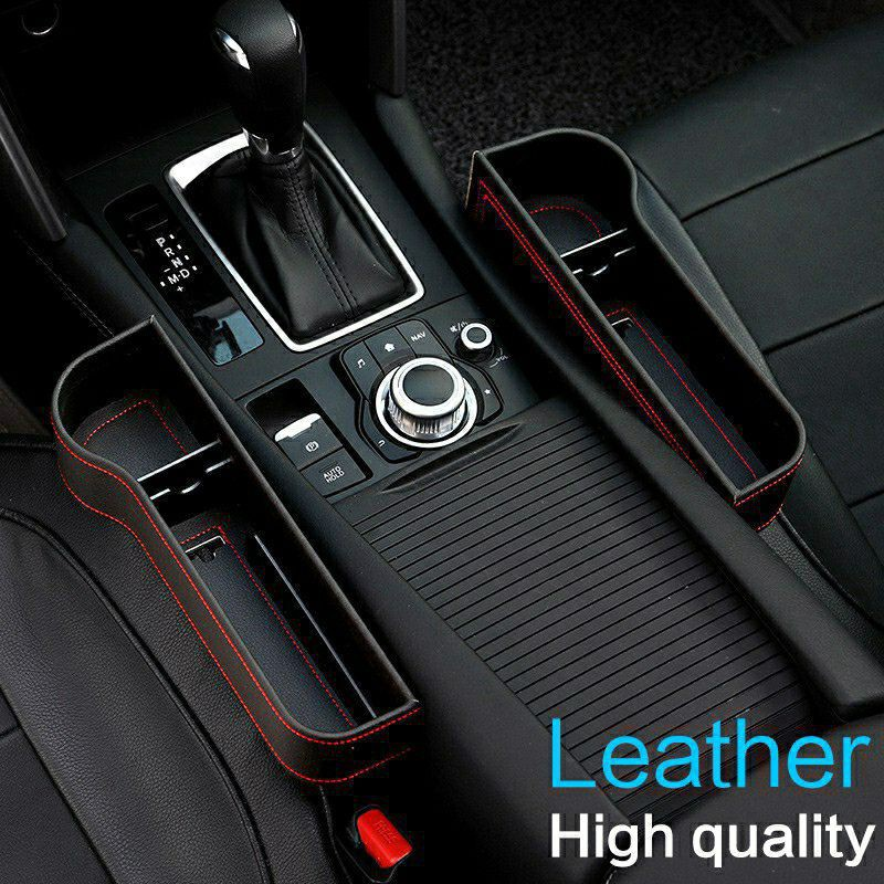SEND TODAY* LEATHER Car Seat Box Storage Side Pocket Gap Slit Pocket Storage Organizer