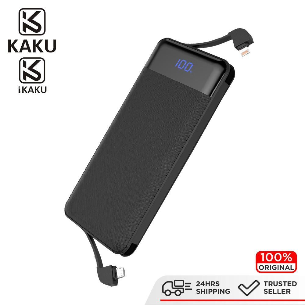 IKAKU KAKU LEIOU Latest LED Digital Display Power Bank Dual Lightning & Micro USB Cable 10000Mah Fast Charging Android