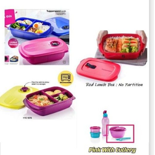 Tupperware Reheatable Lunch Box Crystalwave Rect 1000ml Divided Lunch Box