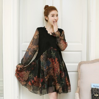 Fashion Women Summer All Match Loose Long Sleeve Floral Midi Lace Dress