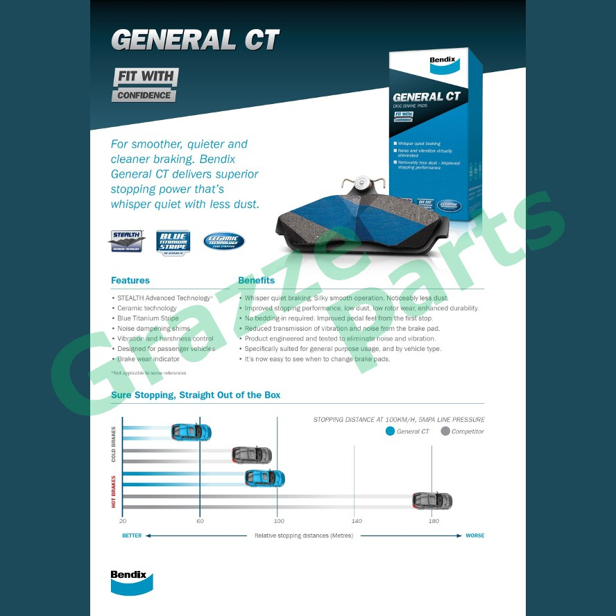 Bendix General CT Brake Pad Rear DB1660 - Toyota Estima Alphard AHR10W Ipsum