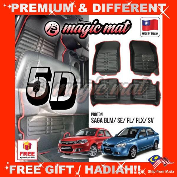 [FREE GIFT Gift] PROTON SAGA BLM/ SE/ FL/ FLX/ SV (5 Seater) MAGIC MAT 5D OEM PU Leather Floor Mat Anti-Slip Easy Clean Ca