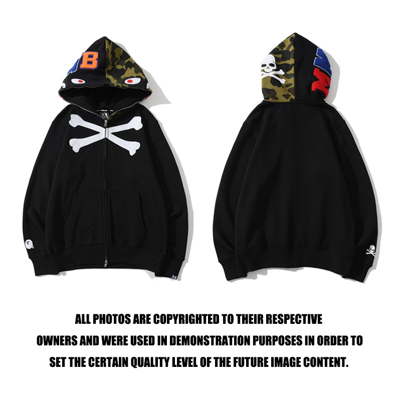 2019 bape men/'s camouflage hoodie skull color matching thick coat jacket