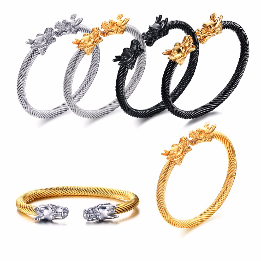 d0f4a7f728c ProductImage. ProductImage. Dragon Head Cuff Bracelet Bangle Men Stainless  Steel Twisted Wire Viking Jewelry