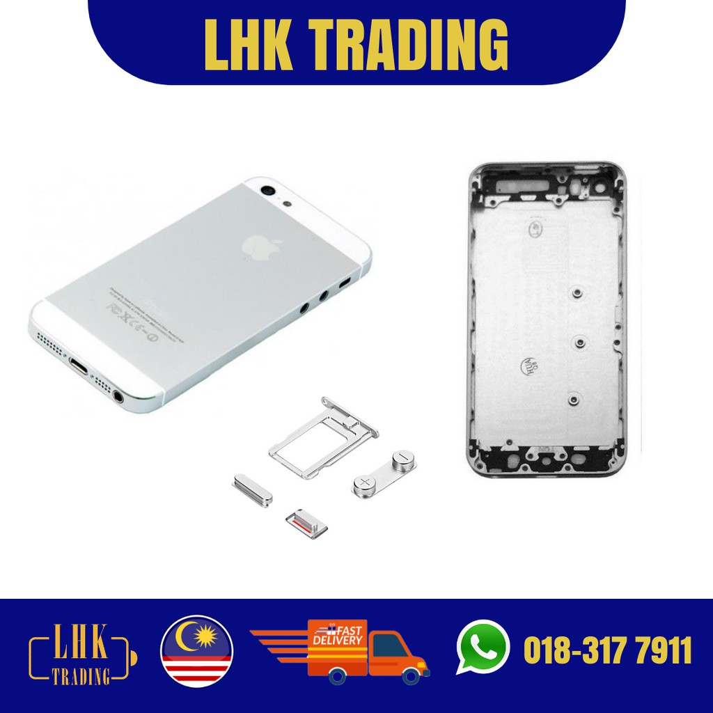 READY STOCK !! Original Iphone 5 5S 5SE SILVER Full Set Housing Body Back  Battery Cover With IMEI Number
