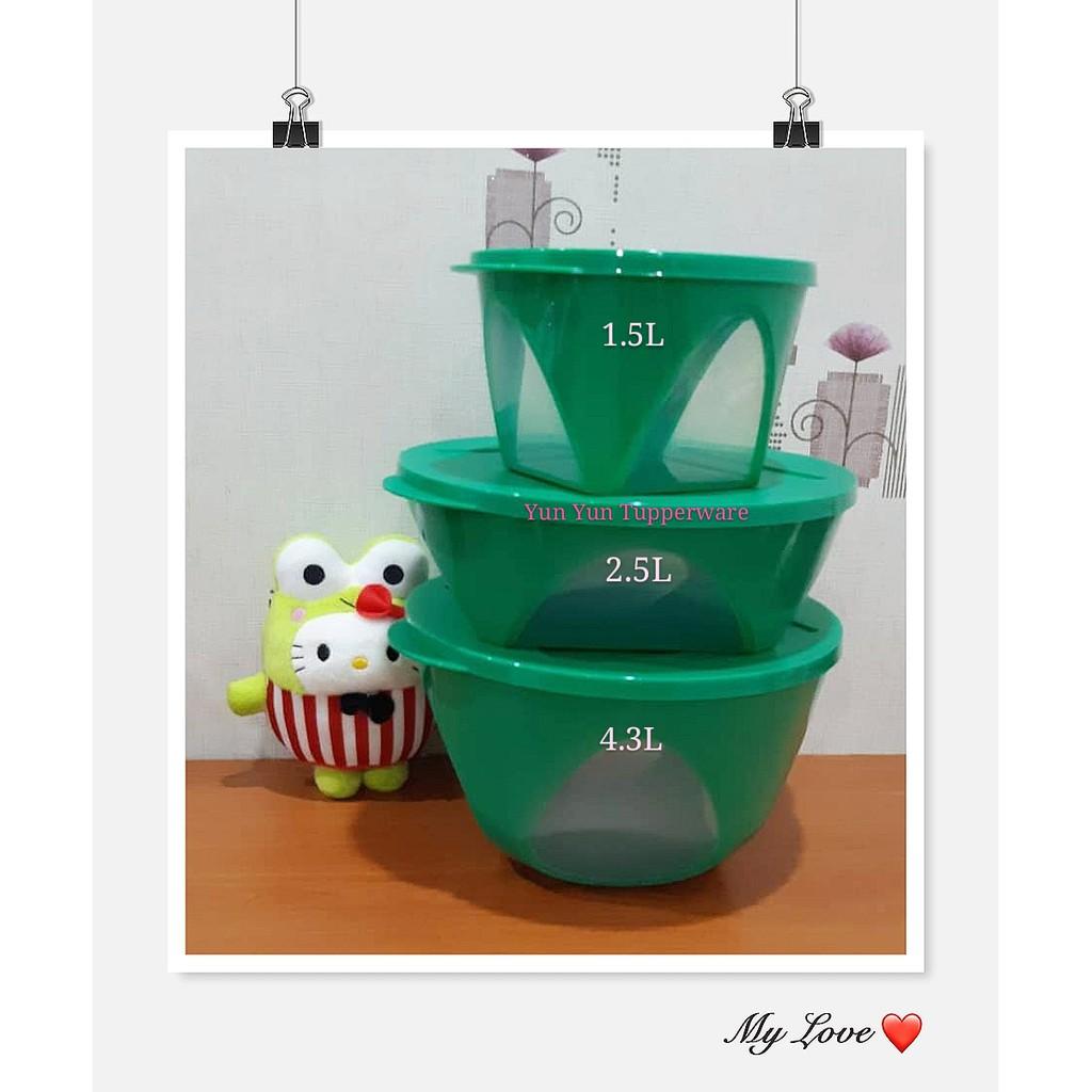 Tupperware Emerald Bowl (3) 1.5L + 2.5L + 4.3L - Dark Green