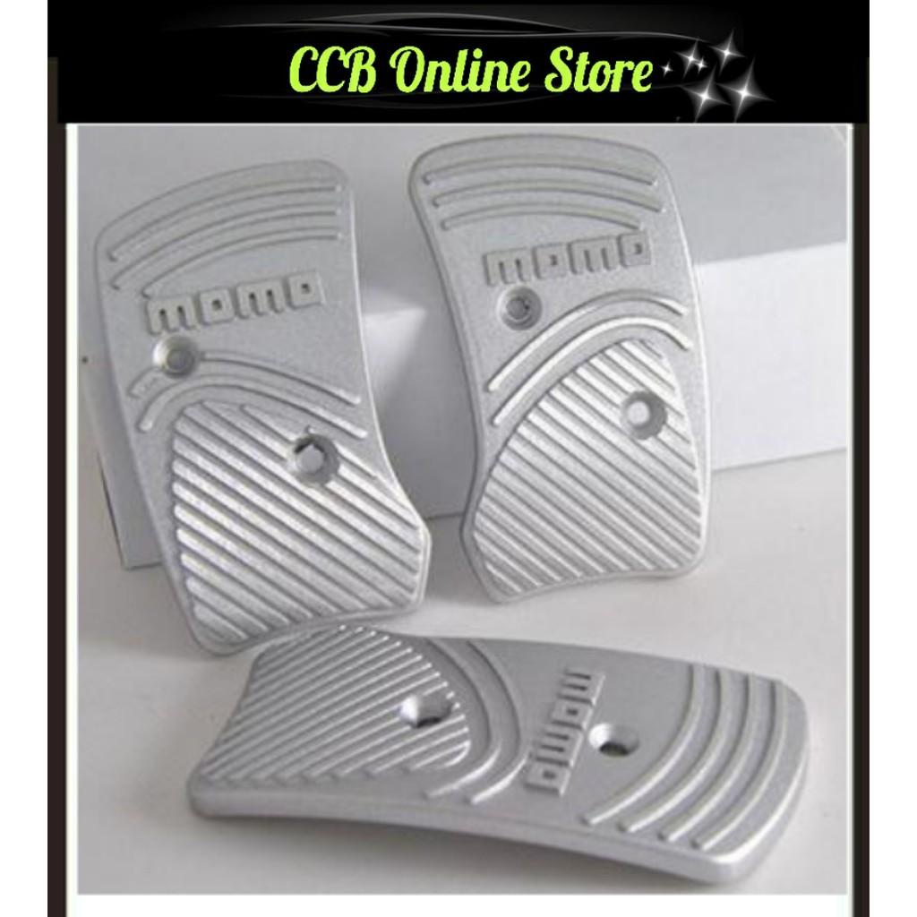 Red Silver Aluminium Non Slip Sport Pedal Brake Pad Covers Manual Car 3 PCS