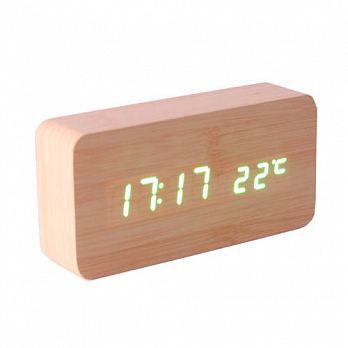 Wooden Digital LED Alarm Modern Clock Time USB/AAA (Khaki Wood+White LED)Khaki
