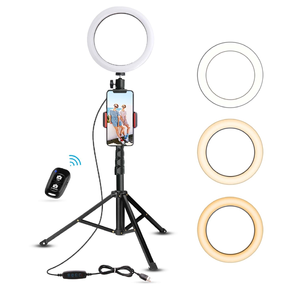 Selfie Ring Light with Cell Phone Holder Stand for Live Stream//Makeup UBeesize Mini LED Camera Lighting with Flexible Arms Compatible with iPhone//Android