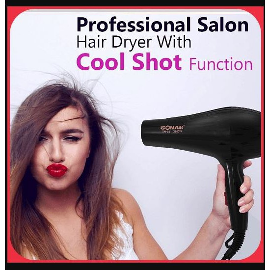 Sonar Professional Hair Dryer Hydra Ion Care Double Protection Salon Grade Low Noise Strong Heat Cold Wind SN-55 3500W