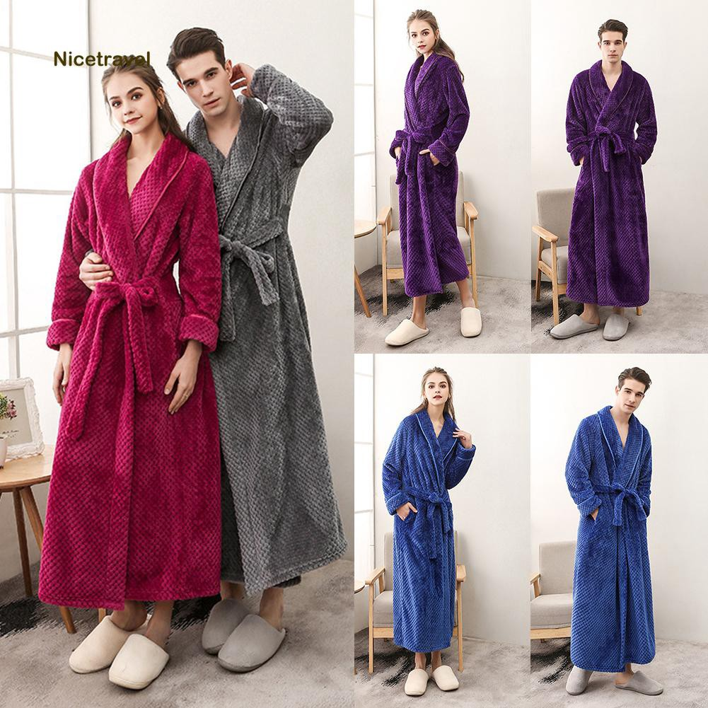 ♥Men Women Soft Flannel Solid Color Long Bath Robe Home Dressing Gown  Sleepwear  85f072d1a