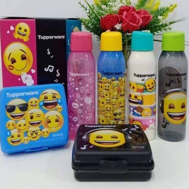 Tupperware Emoji Eco Bottle 500ml OR Emoji Sandwich Keeper Lunch Box or eco bottle brush
