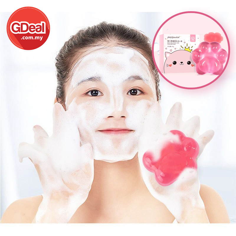 GDeal Peach Jelly Cat Claw Soap Deep Cleansing Oil Control Moisturizing Nicotinamide Amino Acid Soap