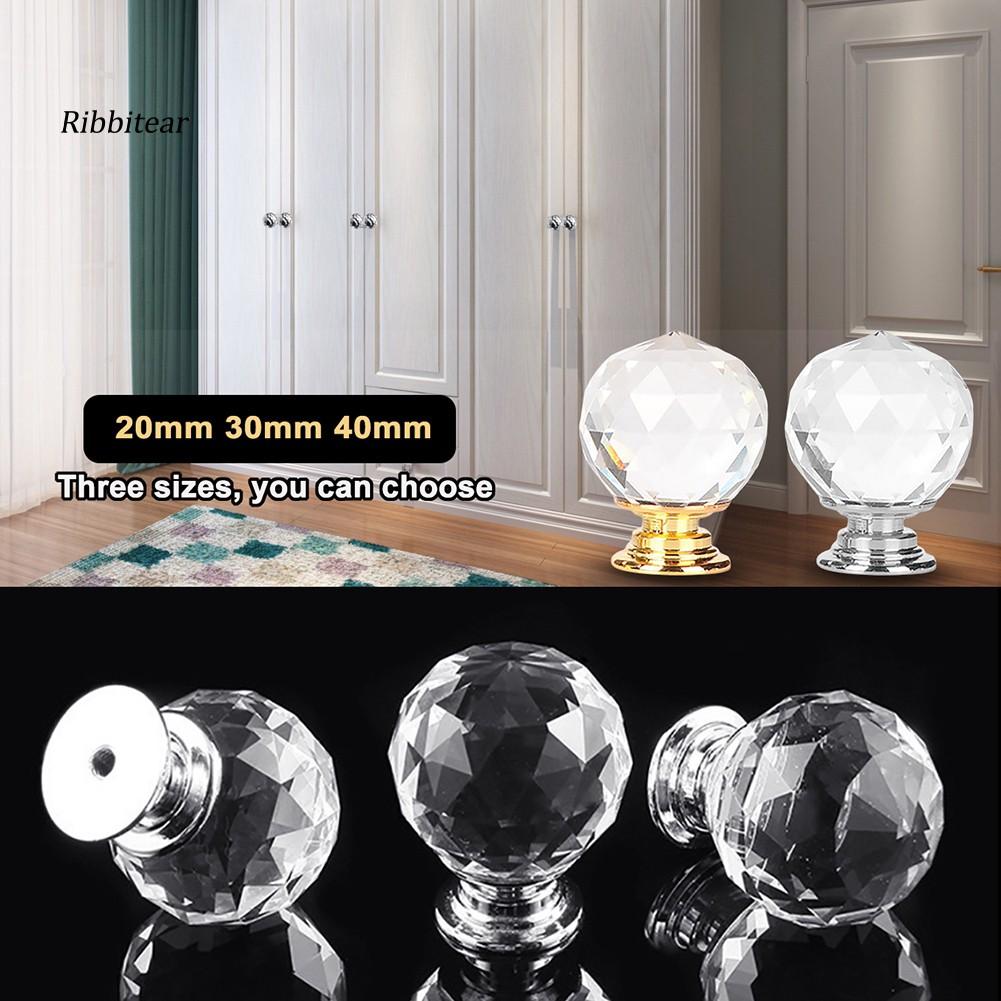 Rib 20 30 40mm Crystal Glass Kitchen Cabinet Cupboard Drawer Knob Wardrobe Handle Shopee Malaysia