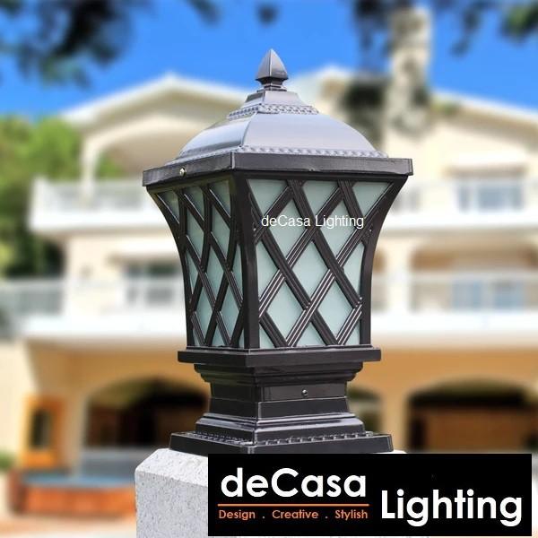 M Size Antique Outdoor Pillar Light Decasa Lighting Weather Proof Outdoor Gate Lamp Lampu Hiasan Pagar 77-M