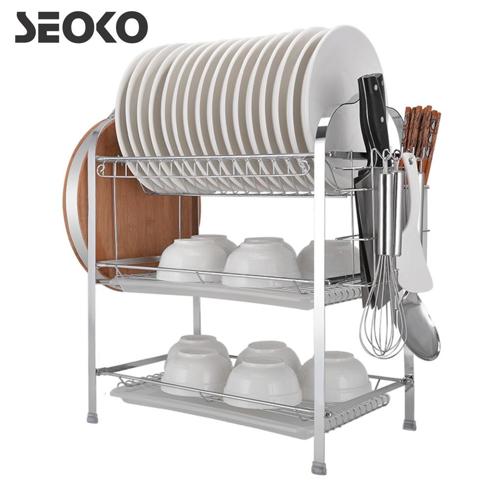 8b6144df9493 SEOKO 3 Layer Steel Dish Rack With Knife & Cutting Board Compartments