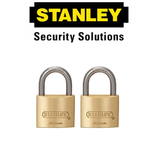 STANLEY STANDARD SHACKLE KEY ALIKE BRASS PADLOCK S827-408 40MM  SECURITY LOCK