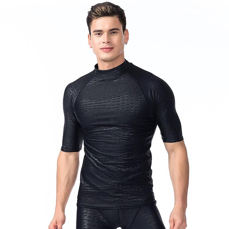 Men Short Sleeve Sun Shirts UV Surfing Scuba Swim Rash Guards Lycra Top Swimwear