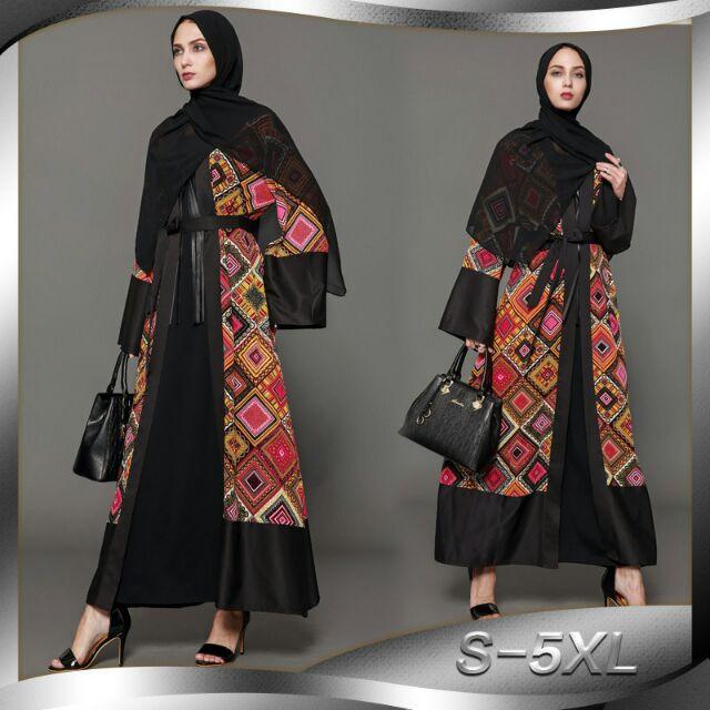 Muslim Women Long Sleeve Maxi Dinner Dress Plus Size